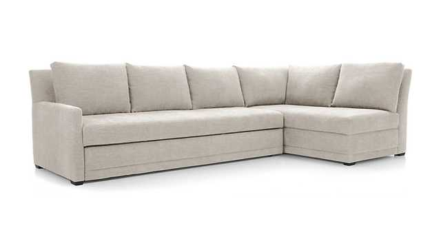 Reston 2-Piece Sleeper Sectional Sofa - Pearl - Crate and Barrel