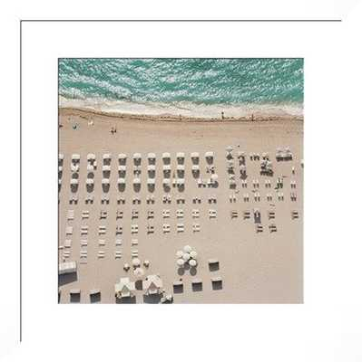 """People at beach - 28x28"""" - White Frame - With mat - Photos.com by Getty Images"""