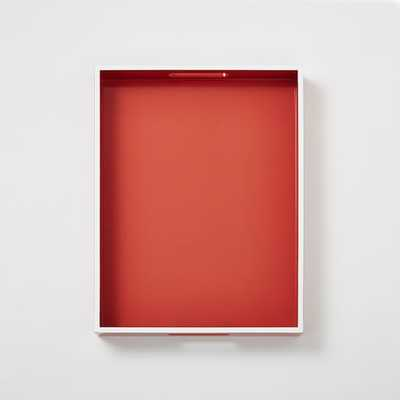 White Rim Lacquer Trays - Rectangle - Poppy - West Elm