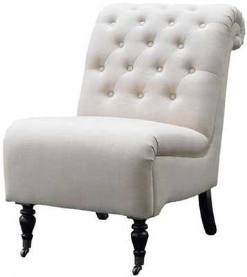 Kinsley Roll-Back Tufted Chair - Natural Linen - Home Decorators