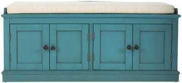 LAUGHLIN STORAGE BENCH - Antique Blue - Home Depot