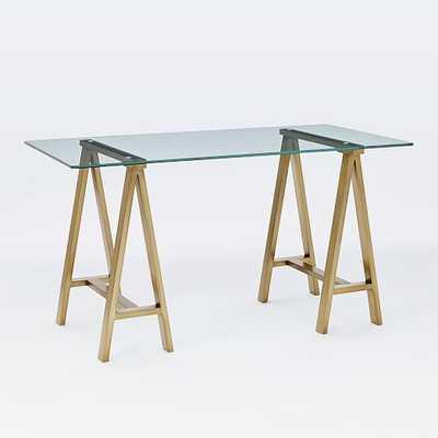 Cross-Base Desk - Blackened Brass - Large - West Elm