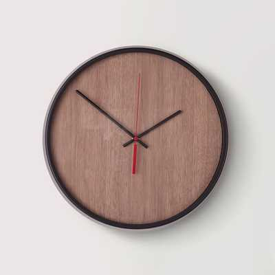 Umbra Madera Wall Clock, Black/Walnut - West Elm