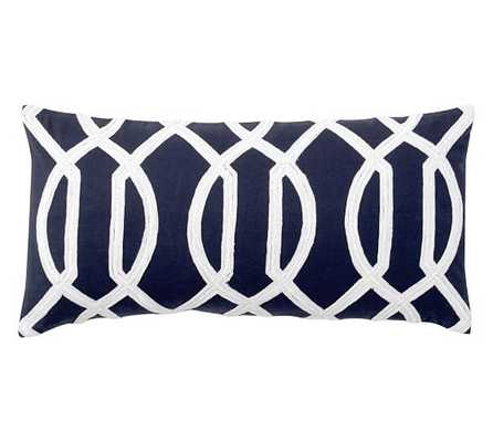 "Trellis Embroidered Pillow Cover - Navy - 12"" x 24"" - No Insert - Pottery Barn"