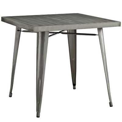 ALACRITY SQUARE METAL DINING TABLE IN GUNMETAL - Modway Furniture