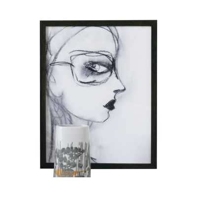 CHARCOAL GIRL WITH GLASSES - 15x11.5W - Framed - Dwell Studio