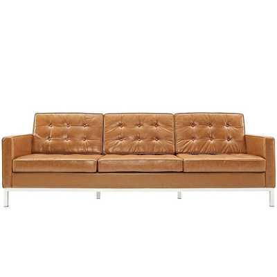 LOFT LEATHER SOFA IN TAN - Modway Furniture
