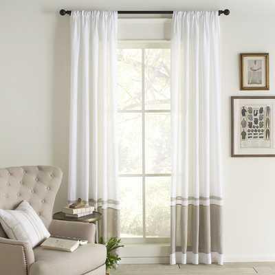 Wren Linen Single Curtain Panel -White/Gray - Birch Lane