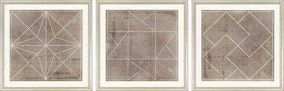 Geometric Framed (Silver) Wall Art - Set of 3 - Home Decorators