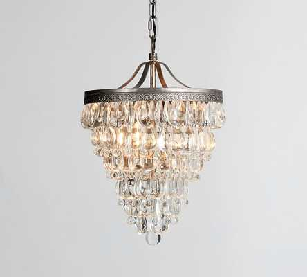 Clarissa Crystal Drop Small Round Chandelier - Small - Pottery Barn