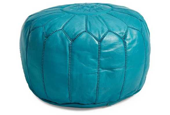 Moroccan Leather Pouf, Turquoise - One Kings Lane