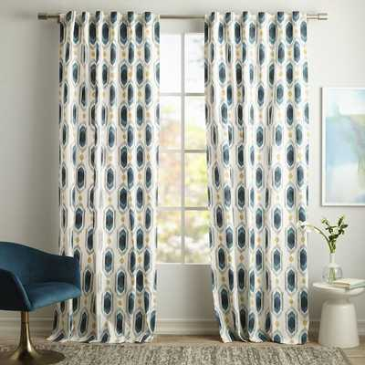 "Cotton Canvas Ikat Gem Curtain - Blue Teal- Set of 2, 84"" - West Elm"