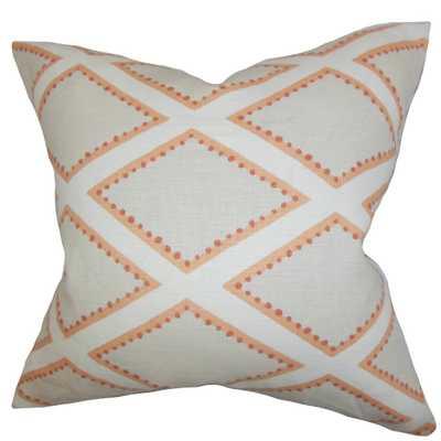 "Alaric Geometric Pillow Gray Coral - 18"" x 18""- Polyester Insert - Linen & Seam"