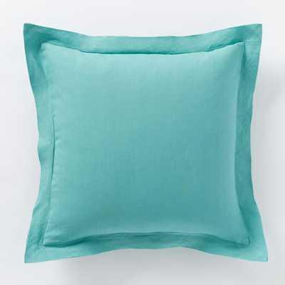 "Belgian Linen Pillow Cover - Peacock - 18""sq. - Insert sold separately - West Elm"