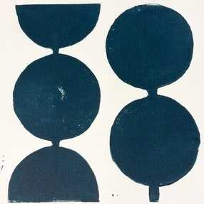 "Modern Circles in Midnight Blue - 16"" x 16"", Unframed - Artfully Walls"