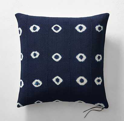 "Handcrafted African Indigo Shibori Dot Pillow Cover - 22"" x 22"" - No Insert - RH"