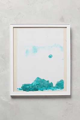 """Abstracted Mountainscape Wall Art - Green - 13"""" x 11"""" - White frame - With mat - Anthropologie"""