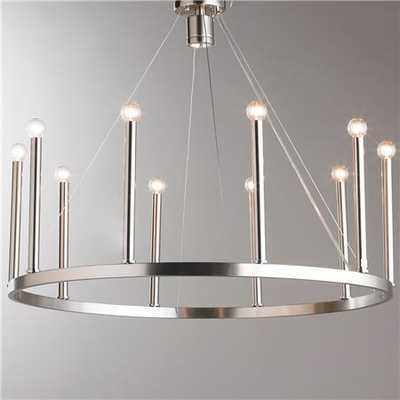 Euro-Modern Candelabra Chandelier - Brushed Nickel - Shades of Light
