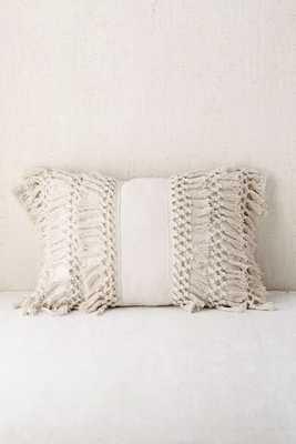 """Venice Net Tassel Bolster Pillow -Cream - 14"""" x 20"""" - Urban Outfitters"""
