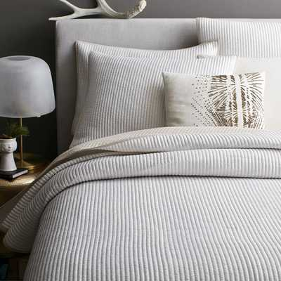 Channel Stitch Coverlet, King, Stone White - West Elm