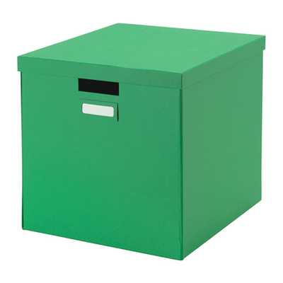 TJENA Box with lid, green - Ikea