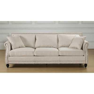 Camden Beige Linen Sofa - Overstock