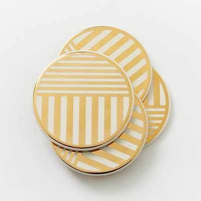 Linear Gold Coasters - Set of 4 - West Elm