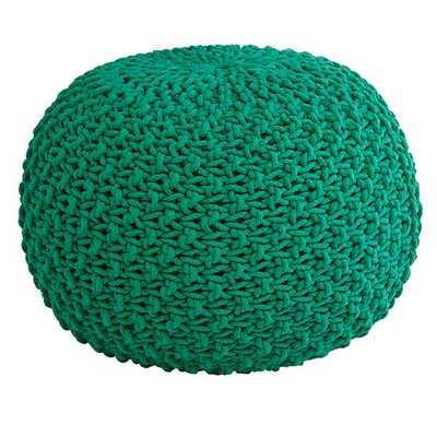 Green Knit Pouf Seat - Land of Nod