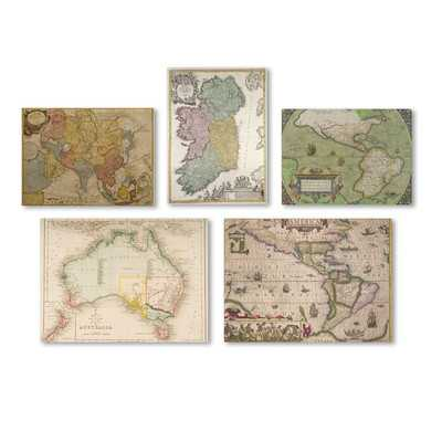Vintage Maps Wall 5 Piece Graphic Art on Wrapped Canvas Set - Wayfair
