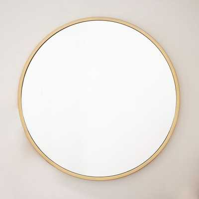 Metal Framed Oversized Round Mirror - Antique Brass - West Elm
