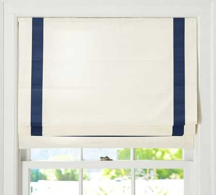 "Grosgrain Ribbon Cordless Roman Shade - Ink-48"" x 64"" - Pottery Barn"