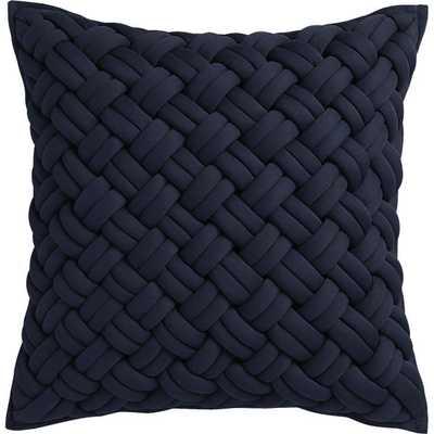 "jersey interknit navy 20"" pillow with down-alternative insert - CB2"