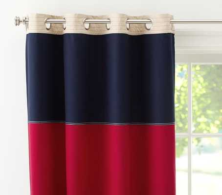"""Rugby Blackout Panel-96""""-Navy/Red - Pottery Barn Kids"""