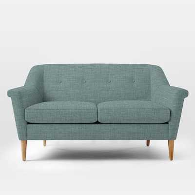 Finn Loveseat - Heathered Weave, Eucalyptus - West Elm