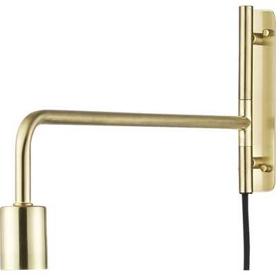 Swing arm brass wall sconce - CB2