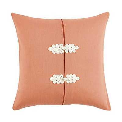 Kiki Frog Knot Pillow - Coral -  20x20 - Down insert - Ballard Designs