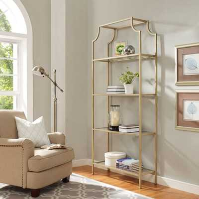 AIMEE ANTIQUED GOLD AND GLASS ETAGERE - Home And Patio