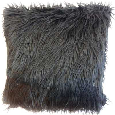 "Valeska Faux Fur Pillow Black - 18"" x 18"" - Polyester insert - Linen & Seam"