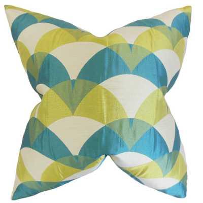 """Carlsen Geometric Pillow Blue, 22"""" x 22"""" - Down insert - Linen & Seam"""