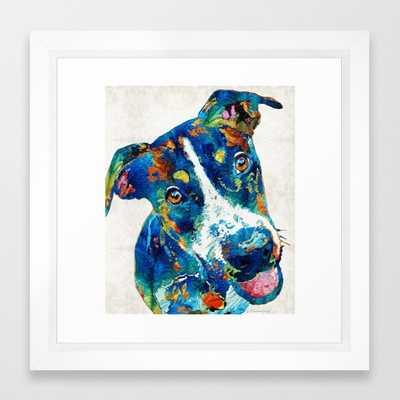 "Colorful Dog Art - Happy Go Lucky - 12"" x 12"" - Vector White Frame - Society6"