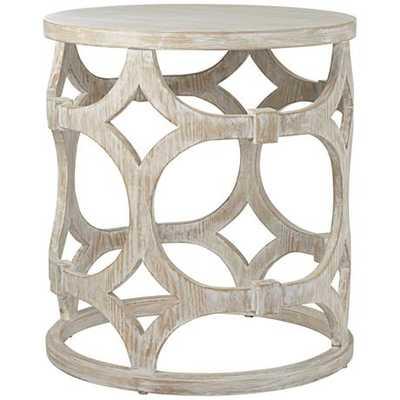 Lanini Whitewash Accent Table - Lamps Plus
