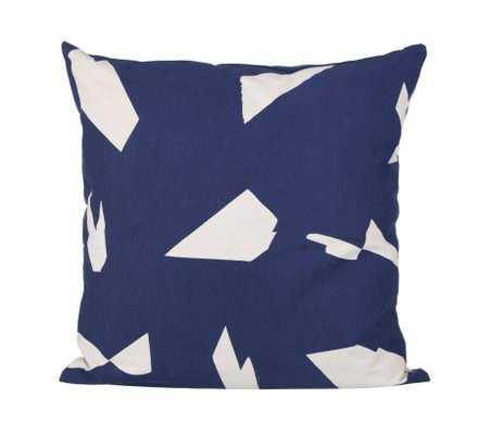 "Organic Cotton Cut Cushion - 19.69""Sq - Dark Blue - With insert - Domino"