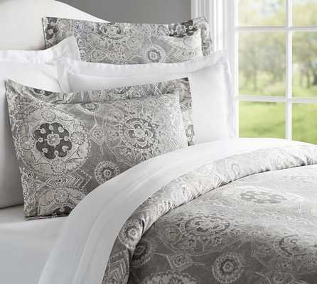Jacquelyn Duvet Cover, King/Cal. King, Gray - Pottery Barn