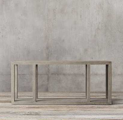 HERRINGBONE LARGE CONSOLE TABLE - Weathered Grey Oak - RH