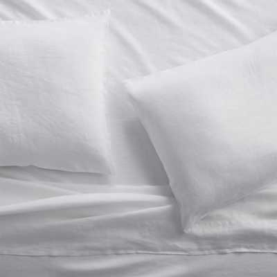 Set of 2 Lino II White Linen King Pillow Cases - Crate and Barrel
