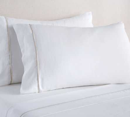 Belgian Flax Linen Contrast Flange Sheet Set, King, White/Natural - Pottery Barn