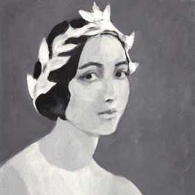 "Young Lady - 8"" x 8"" - White Wood Frame - No mat - Artfully Walls"