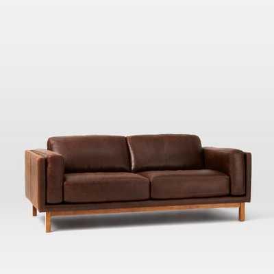 "Dekalb Leather 85"" Sofa - Premium Aniline Leather, Molasses - West Elm"