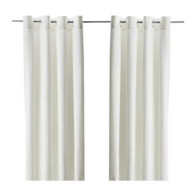 "MERETE Curtains, 1 pair, bleached white - 57 x 98"" - Ikea"