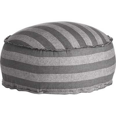 The Hill-Side grey-navy stripe pouf - CB2
